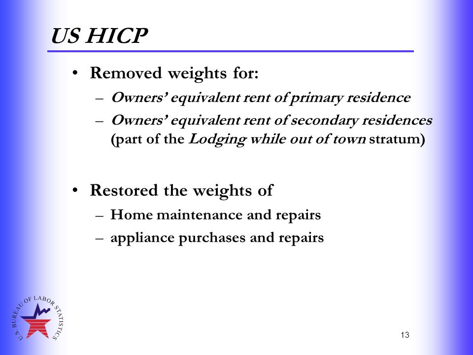 13 US HICP Removed weights for: –Owners' equivalent rent of primary residence –Owners' equivalent rent of secondary residences (part of the Lodging wh
