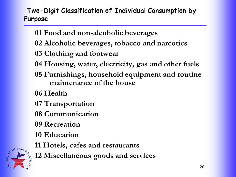 20 01 Food and non-alcoholic beverages 02 Alcoholic beverages, tobacco and narcotics 03 Clothing and footwear 04 Housing, water, electricity, gas and