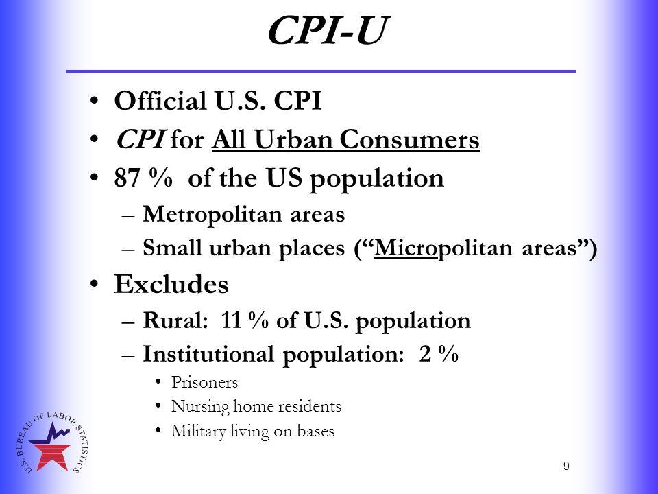 "9 CPI-U Official U.S. CPI CPI for All Urban Consumers 87 % of the US population –Metropolitan areas –Small urban places (""Micropolitan areas"") Exclude"