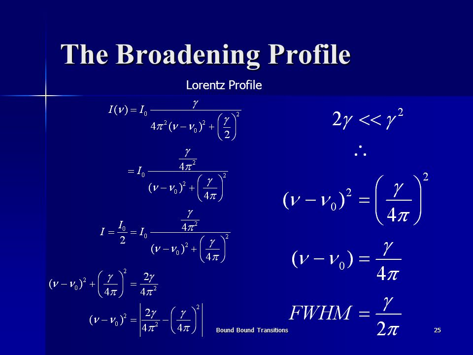 Bound Bound Transitions25 The Broadening Profile Lorentz Profile