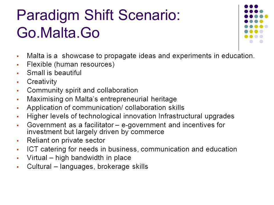 Paradigm Shift Scenario: Go.Malta.Go  Malta is a showcase to propagate ideas and experiments in education.