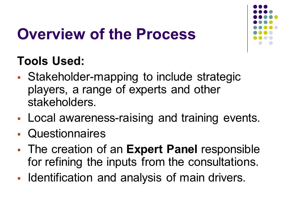 Overview of the Process Tools Used:  Stakeholder-mapping to include strategic players, a range of experts and other stakeholders.  Local awareness-r