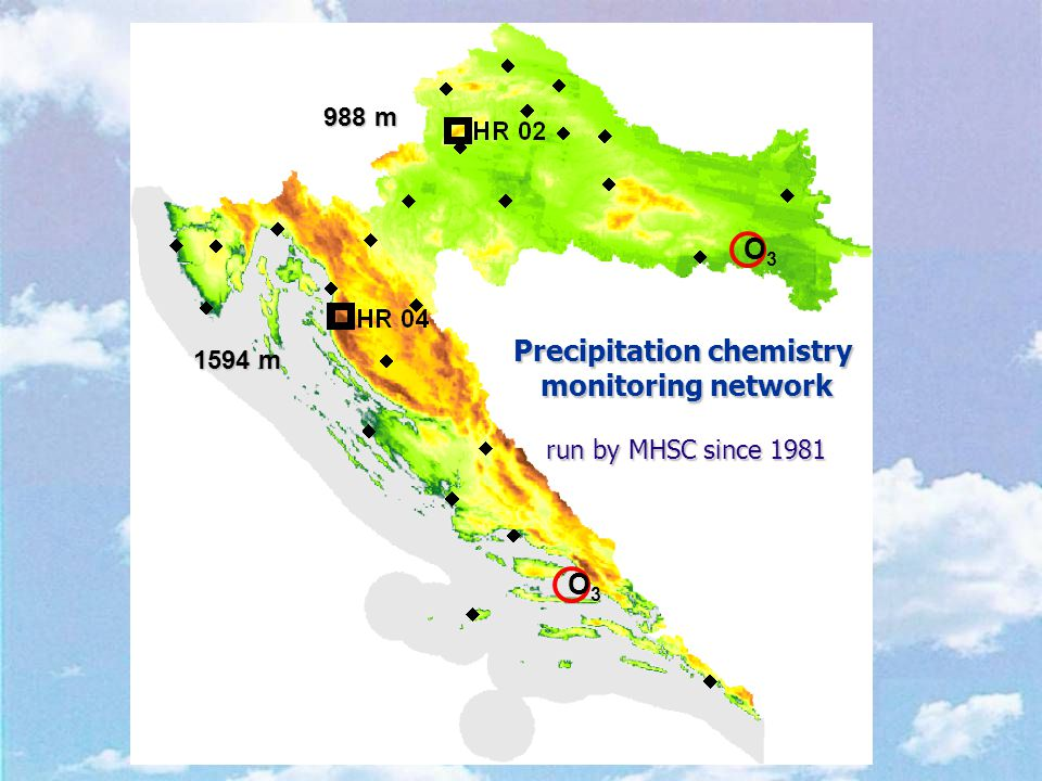 Precipitation chemistry monitoring network run by MHSC since 1981 988 m 1594 m O3O3 O3O3