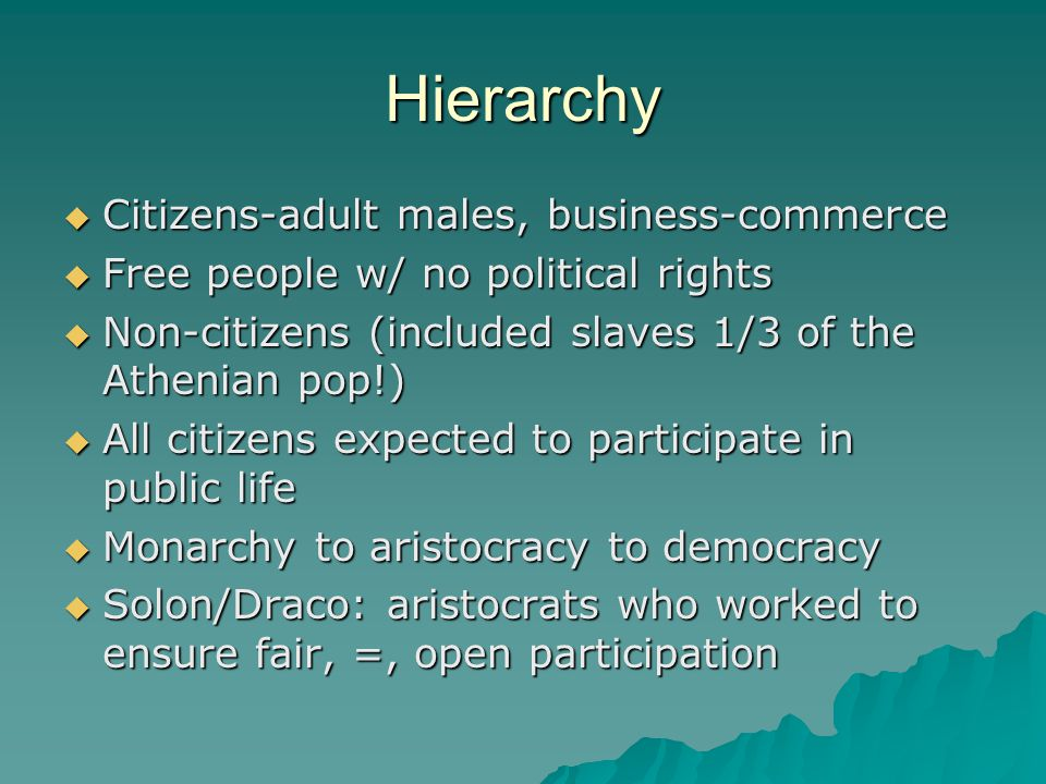 Hierarchy  Citizens-adult males, business-commerce  Free people w/ no political rights  Non-citizens (included slaves 1/3 of the Athenian pop!)  All citizens expected to participate in public life  Monarchy to aristocracy to democracy  Solon/Draco: aristocrats who worked to ensure fair, =, open participation