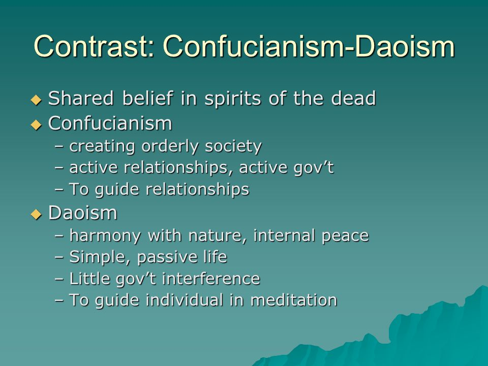Contrast: Confucianism-Daoism  Shared belief in spirits of the dead  Confucianism –creating orderly society –active relationships, active gov't –To guide relationships  Daoism –harmony with nature, internal peace –Simple, passive life –Little gov't interference –To guide individual in meditation