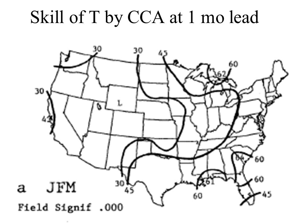 Skill of T by CCA at 1 mo lead