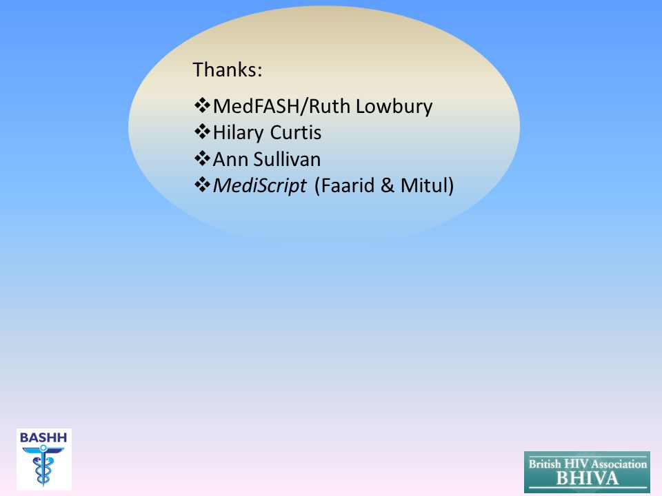Thanks:  MedFASH/Ruth Lowbury  Hilary Curtis  Ann Sullivan  MediScript (Faarid & Mitul)