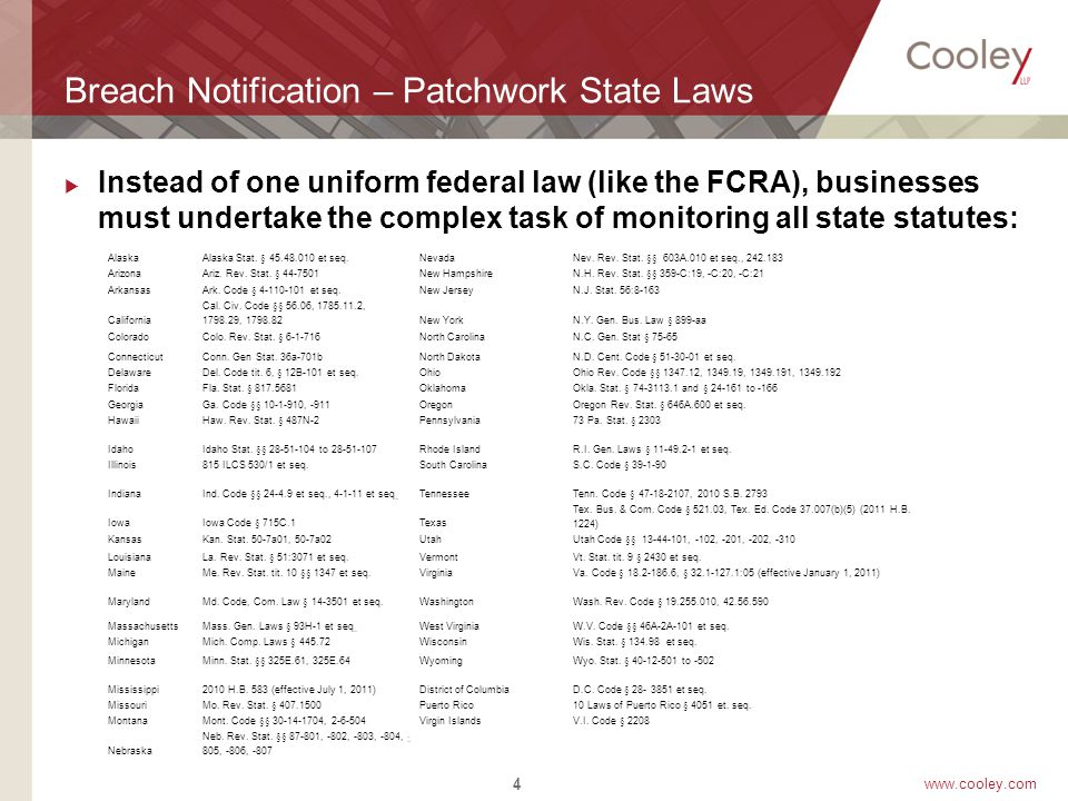 www.cooley.com Patchwork– Most States  46 States, the District of Columbia, Puerto Rico and the Virgin Island have enacted legislation requiring notification of security breaches involving personal information.