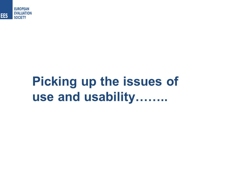 Picking up the issues of use and usability……..