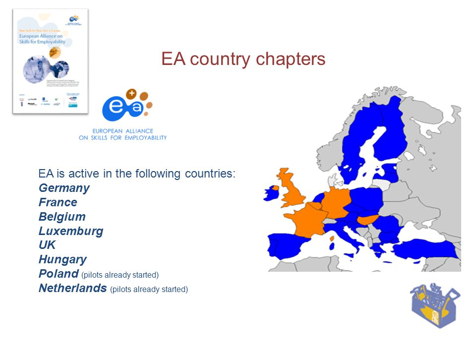EA country chapters EA is active in the following countries: Germany France Belgium Luxemburg UK Hungary Poland (pilots already started) Netherlands (pilots already started)