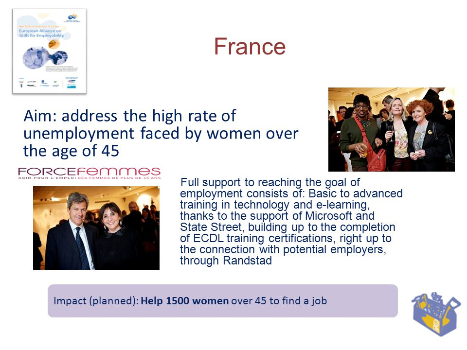 France Aim: address the high rate of unemployment faced by women over the age of 45 Full support to reaching the goal of employment consists of: Basic to advanced training in technology and e-learning, thanks to the support of Microsoft and State Street, building up to the completion of ECDL training certifications, right up to the connection with potential employers, through Randstad Impact (planned): Help 1500 women over 45 to find a job