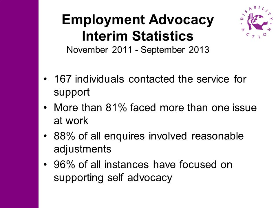 Employment Advocacy Interim Statistics November 2011 - September 2013 167 individuals contacted the service for support More than 81% faced more than