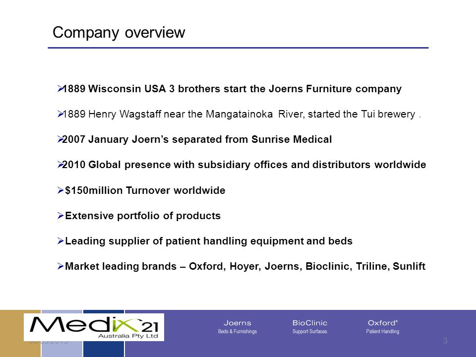 08/05/20153 Company overview  1889 Wisconsin USA 3 brothers start the Joerns Furniture company  1889 Henry Wagstaff near the Mangatainoka River, started the Tui brewery.