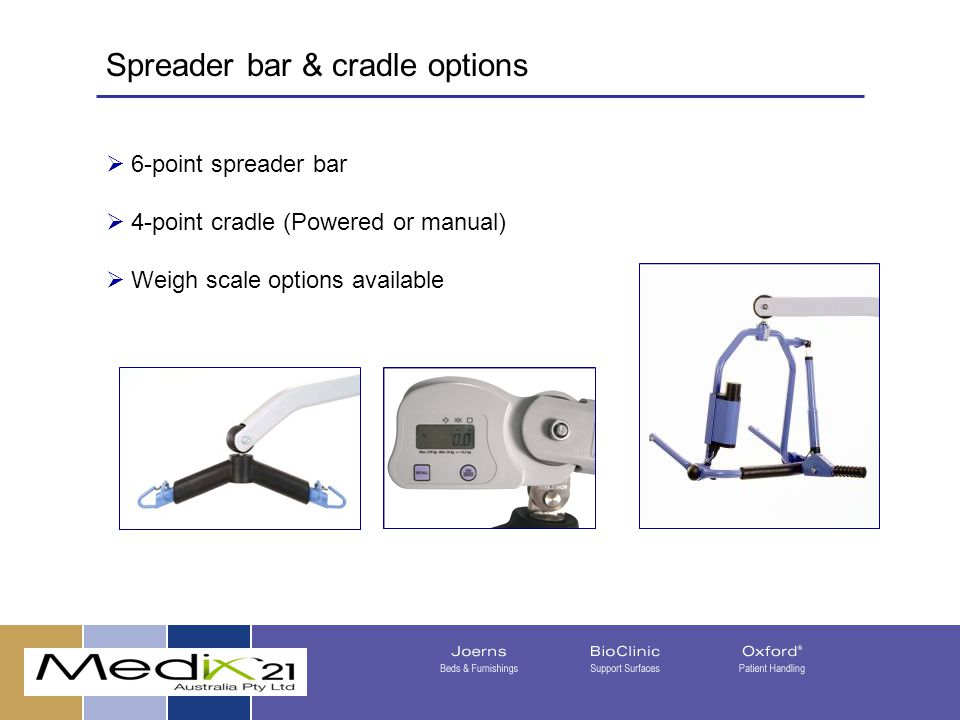  6-point spreader bar  4-point cradle (Powered or manual)  Weigh scale options available 08/05/201537 Spreader bar & cradle options