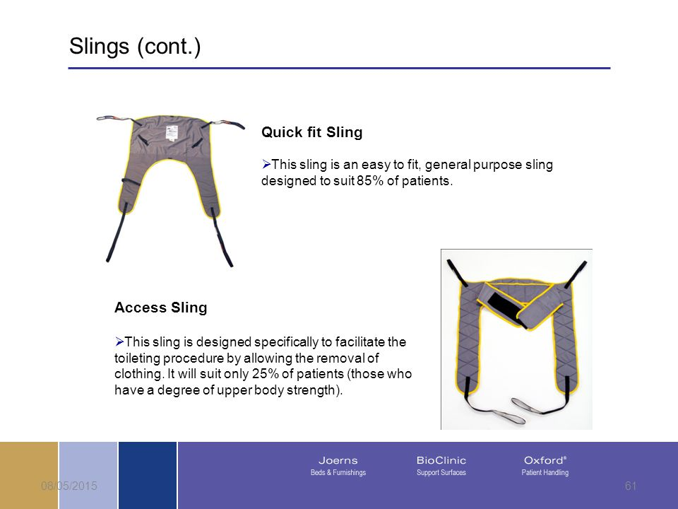 08/05/201561 Quick fit Sling  This sling is an easy to fit, general purpose sling designed to suit 85% of patients.