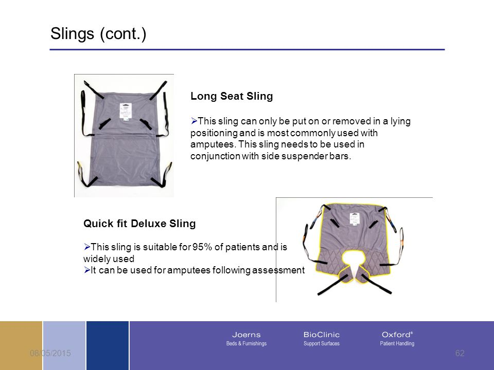 08/05/201562 Long Seat Sling  This sling can only be put on or removed in a lying positioning and is most commonly used with amputees.