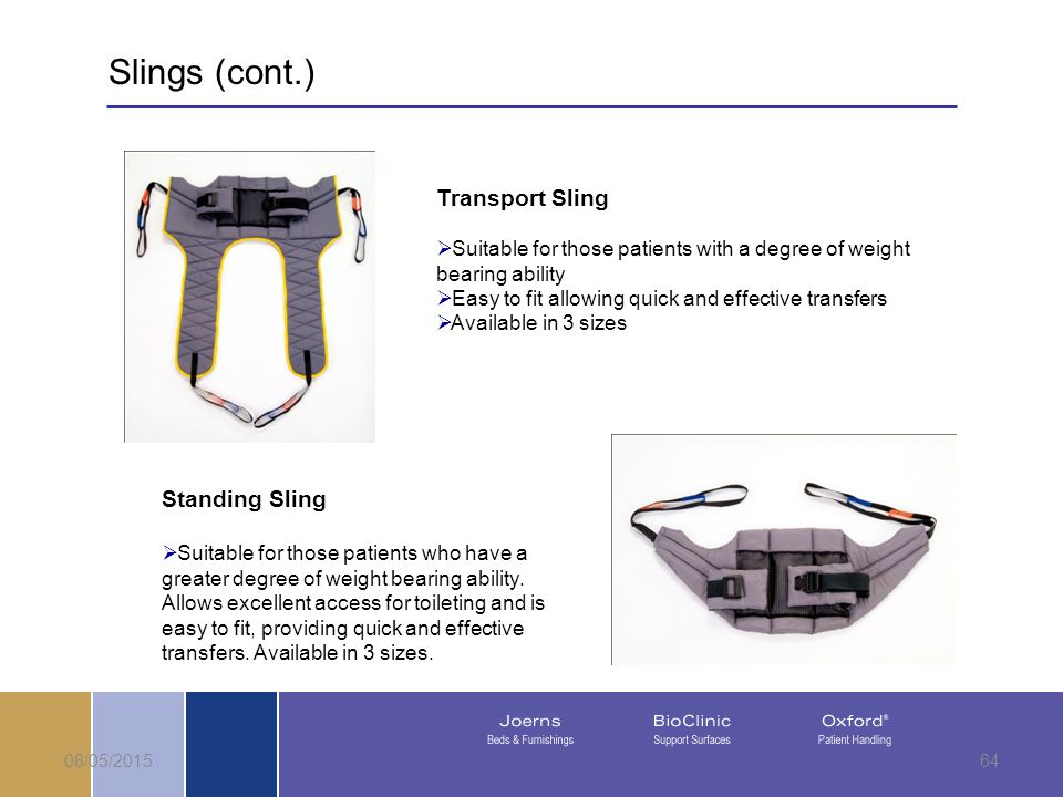 08/05/201564 Transport Sling  Suitable for those patients with a degree of weight bearing ability  Easy to fit allowing quick and effective transfers  Available in 3 sizes Standing Sling  Suitable for those patients who have a greater degree of weight bearing ability.