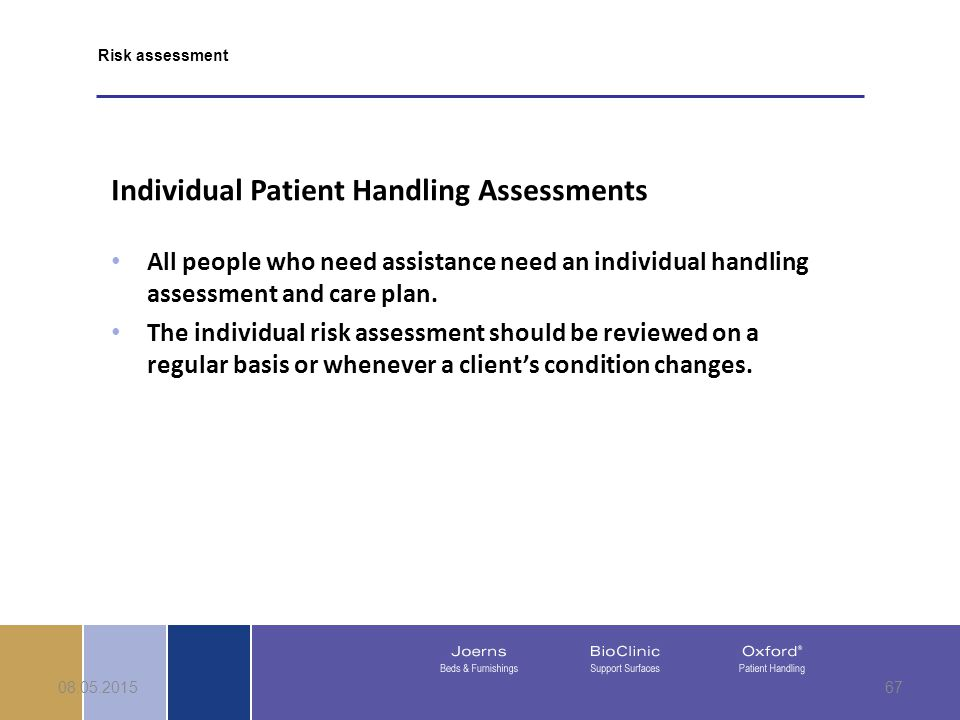 08.05.201567 Individual Patient Handling Assessments All people who need assistance need an individual handling assessment and care plan.