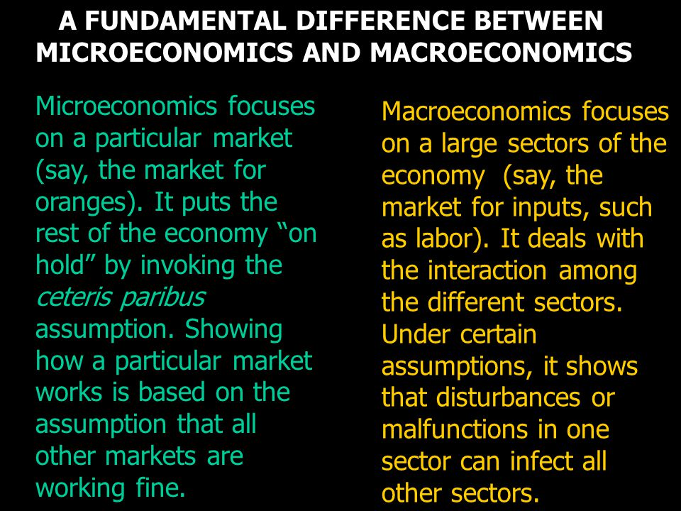 A FUNDAMENTAL DIFFERENCE BETWEEN MICROECONOMICS AND MACROECONOMICS Microeconomics focuses on a particular market (say, the market for oranges). It put