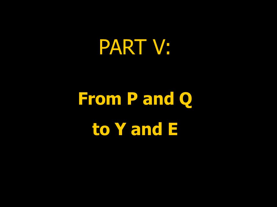 PART V: From P and Q to Y and E