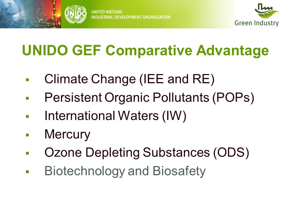 UNIDO GEF Comparative Advantage  Climate Change (IEE and RE)  Persistent Organic Pollutants (POPs)  International Waters (IW)  Mercury  Ozone Depleting Substances (ODS)  Biotechnology and Biosafety