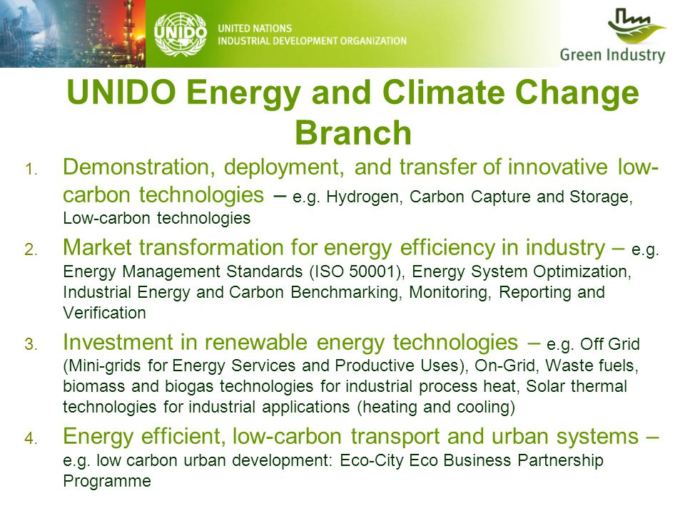 UNIDO Energy and Climate Change Branch 1. Demonstration, deployment, and transfer of innovative low- carbon technologies – e.g. Hydrogen, Carbon Captu