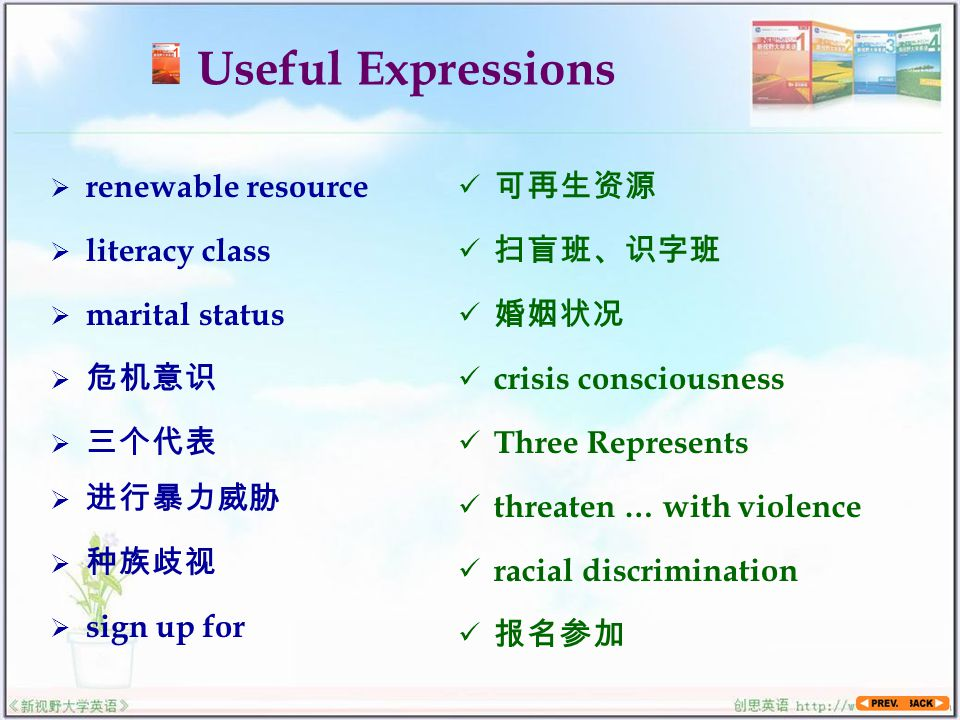 Useful Expressions  renewable resource 可再生资源  literacy class  marital status  危机意识  三个代表  进行暴力威胁 扫盲班、识字班 婚姻状况 crisis consciousness Three Represents threaten … with violence  种族歧视 racial discrimination  sign up for 报名参加