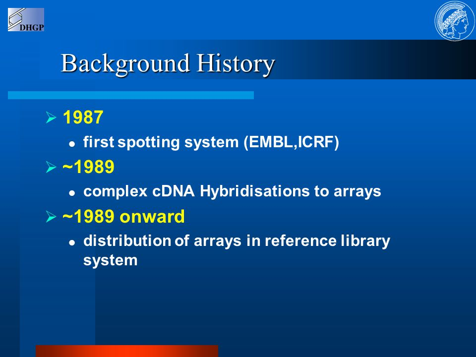 Background History  1987 first spotting system (EMBL,ICRF)  ~1989 complex cDNA Hybridisations to arrays  ~1989 onward distribution of arrays in reference library system