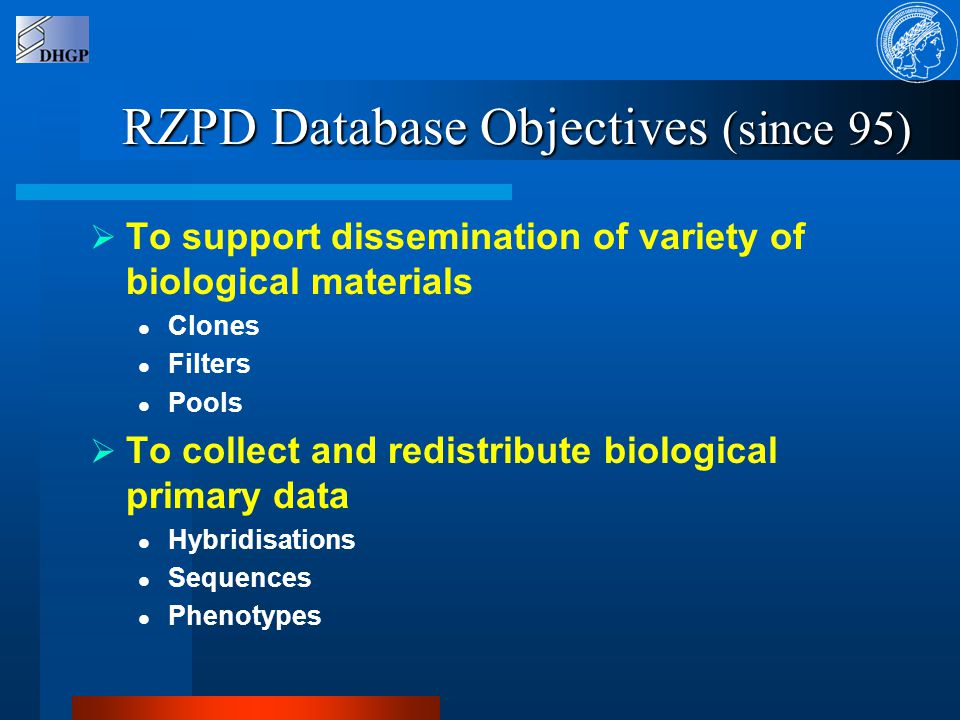 RZPD Database Coverage  Biological Information Clones Libraries Genes Sequences Hybridisation  Logistic Information Clone storage Library re-arraying Filters  Accounting Information Customers Orders / requests Affiliation (DHGP?) Price lists   Information Integration Confidential information Links to other databases Query Visualisation