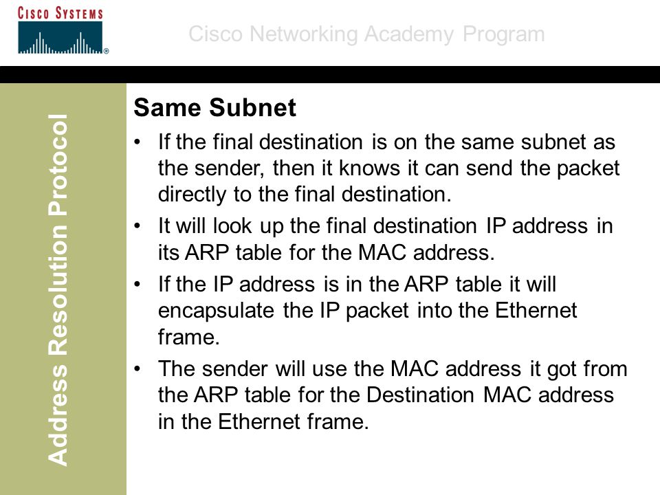 Cisco Networking Academy Program Address Resolution Protocol Same Subnet If the final destination is on the same subnet as the sender, then it knows it can send the packet directly to the final destination.