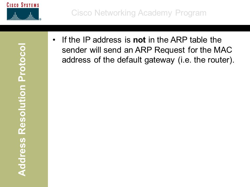 Cisco Networking Academy Program Address Resolution Protocol If the IP address is not in the ARP table the sender will send an ARP Request for the MAC address of the default gateway (i.e.