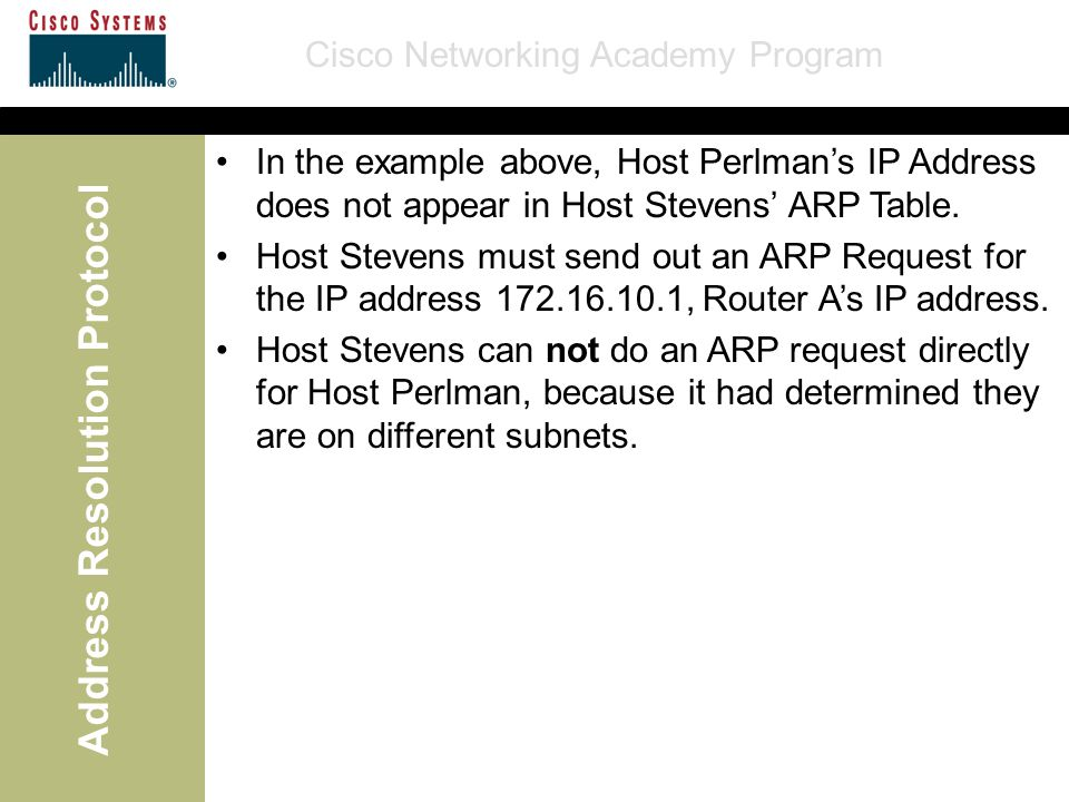 Cisco Networking Academy Program Address Resolution Protocol In the example above, Host Perlman's IP Address does not appear in Host Stevens' ARP Table.