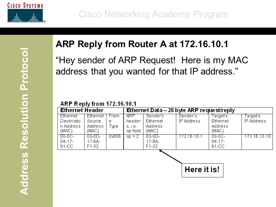 "Cisco Networking Academy Program Address Resolution Protocol ""Hey sender of ARP Request! Here is my MAC address that you wanted for that IP address."""