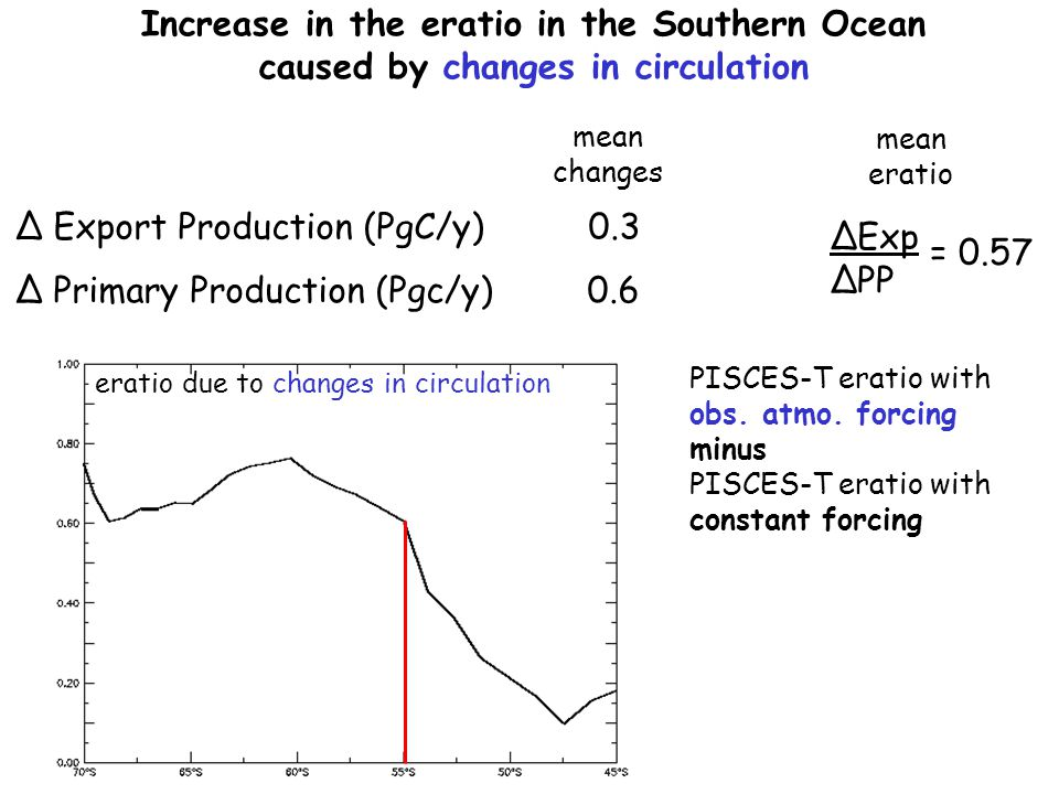 Increase in the eratio in the Southern Ocean caused by changes in circulation mean changes Δ Export Production (PgC/y) 0.3 Δ Primary Production (Pgc/y) 0.6 mean eratio PISCES-T eratio with obs.