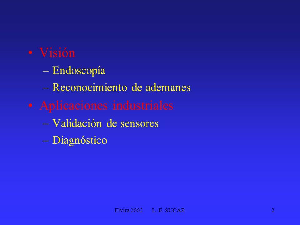 Elvira 2002 L. E. SUCAR2 Visión –Endoscopía –Reconocimiento de ademanes Aplicaciones industriales –Validación de sensores –Diagnóstico
