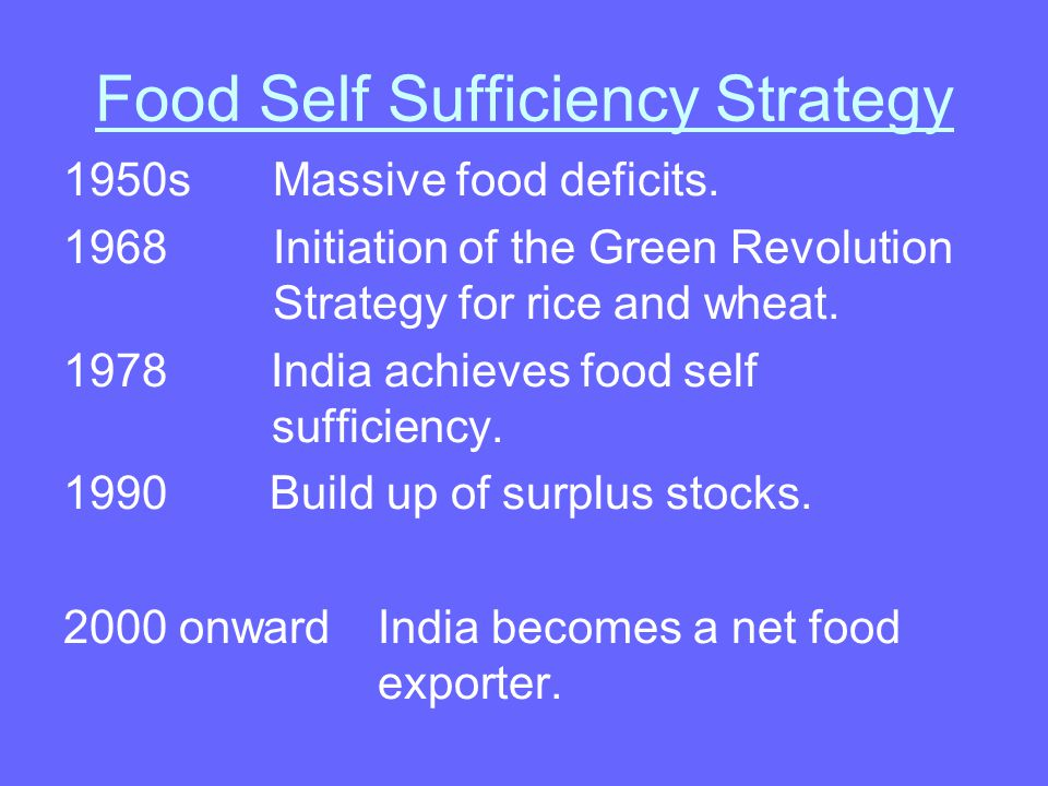 Food Self Sufficiency Strategy 1950sMassive food deficits.