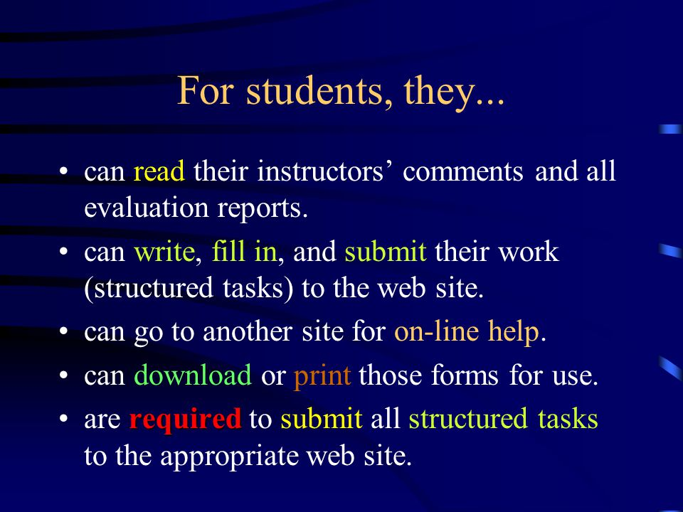 Access Right to the web site Instructors, students, Fieldwork Coordinator, Practice Board members, and the External Examiner right to accesswill be given the right to access to these web sites.