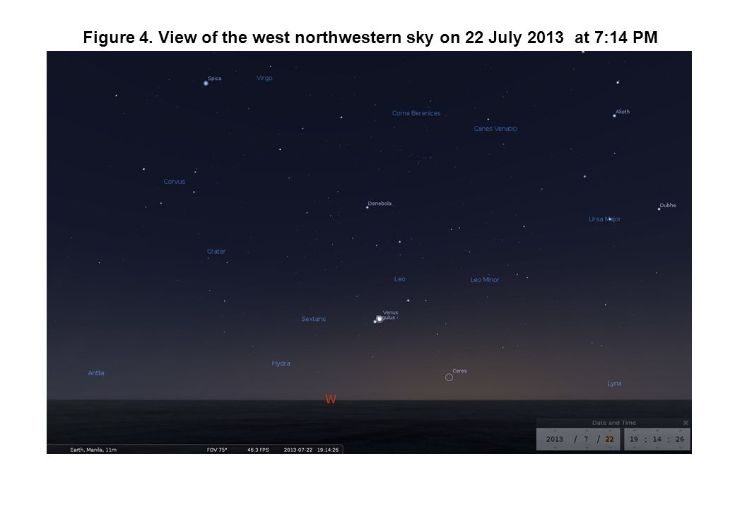 Figure 4. View of the west northwestern sky on 22 July 2013 at 7:14 PM
