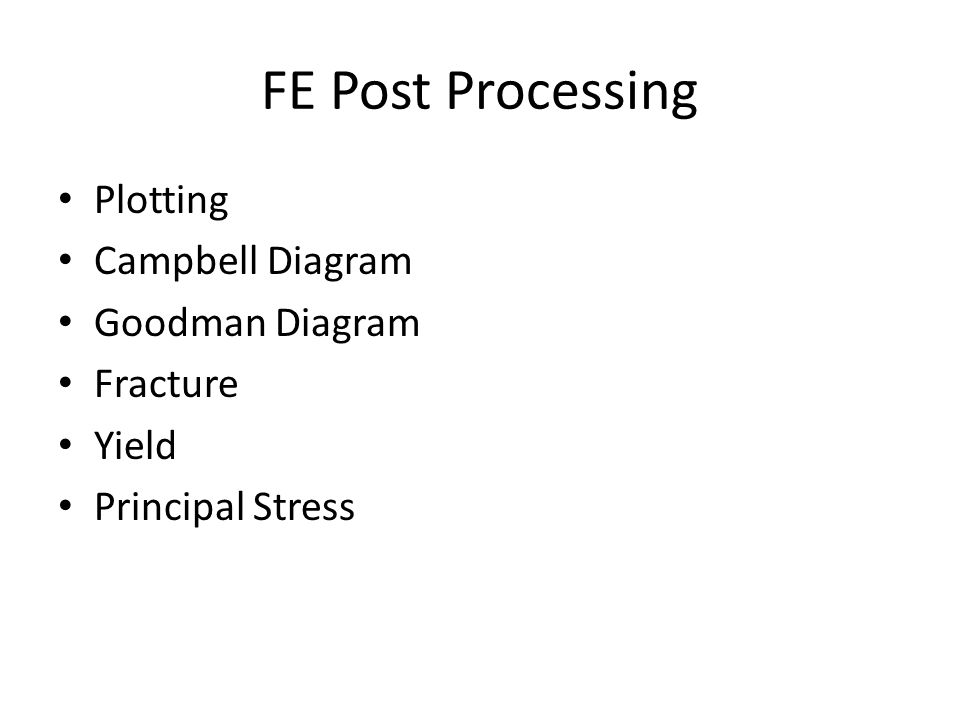 FE Post Processing Plotting Campbell Diagram Goodman Diagram Fracture Yield Principal Stress