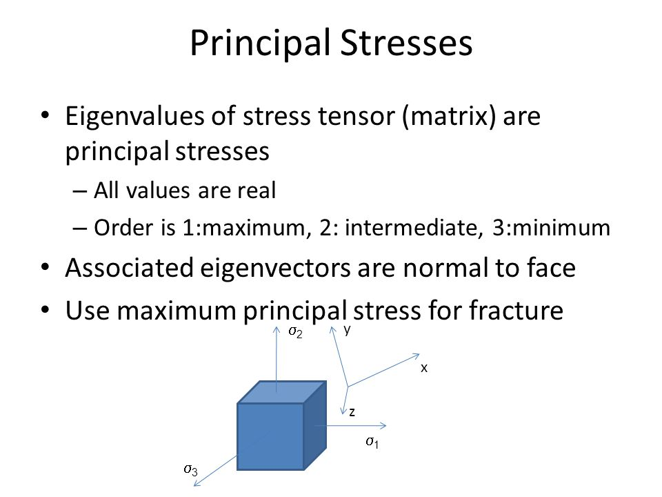 Principal Stresses Eigenvalues of stress tensor (matrix) are principal stresses – All values are real – Order is 1:maximum, 2: intermediate, 3:minimum Associated eigenvectors are normal to face Use maximum principal stress for fracture 11 22 33 x y z