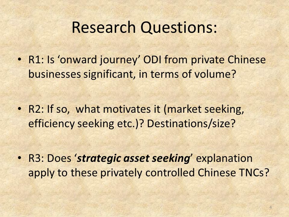 Research Questions: R1: Is 'onward journey' ODI from private Chinese businesses significant, in terms of volume.