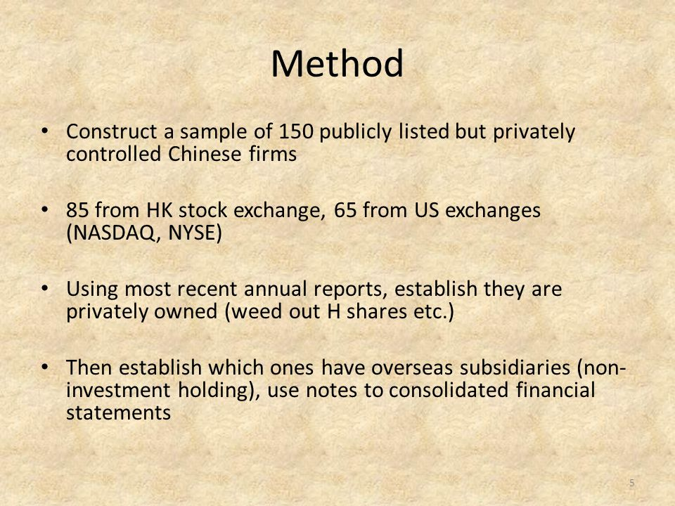 Method Construct a sample of 150 publicly listed but privately controlled Chinese firms 85 from HK stock exchange, 65 from US exchanges (NASDAQ, NYSE)