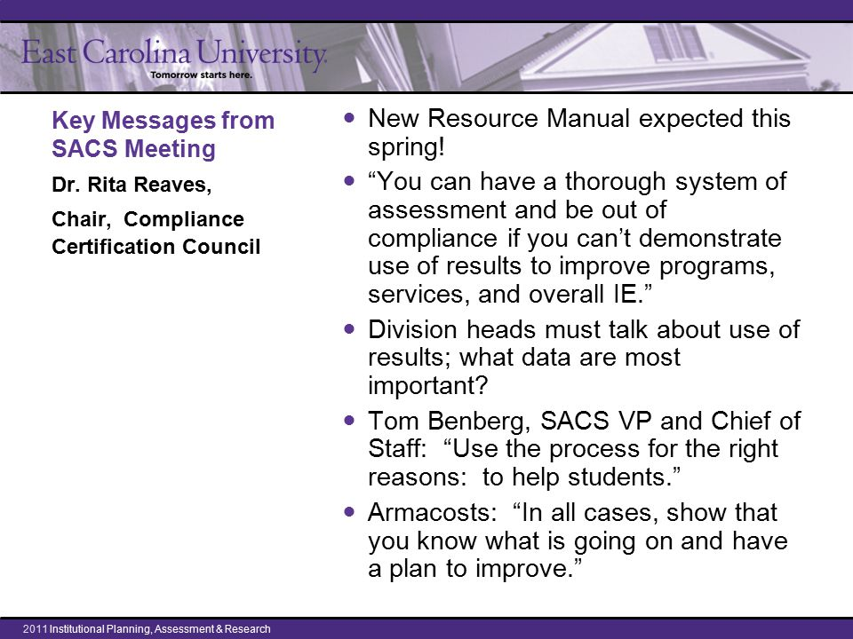 Key Messages from SACS Meeting Dr.