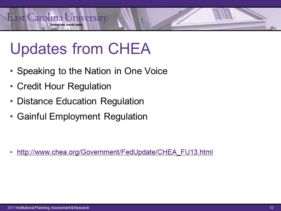 CHEA: Speak in one voice National discourse has to undergo major change; we must speak to the nation in one voice as we face challenges of capacity and quality. Studies confirm that we are in trouble: –Our Underperforming Colleges, Derek Bok –Degree Qualifications Profile, Lumina Foundation We must add intentionality and strategic planning to speak with one voice: The Department of Education could do that, serving as a guide to enlighten state policy. Asst.