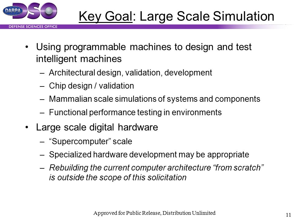 Approved for Public Release, Distribution Unlimited 11 Key Goal: Large Scale Simulation Using programmable machines to design and test intelligent mac