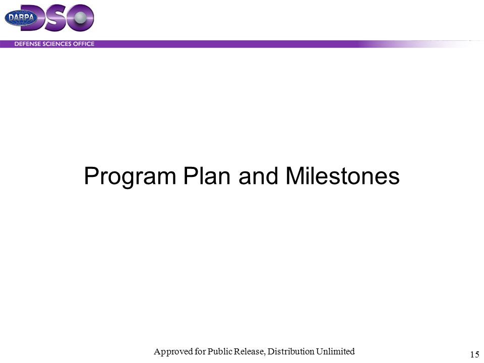 Approved for Public Release, Distribution Unlimited 15 Program Plan and Milestones