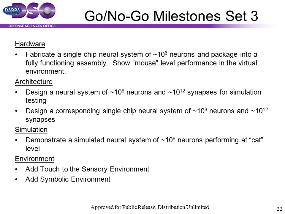 Approved for Public Release, Distribution Unlimited 22 Go/No-Go Milestones Set 3 Hardware Fabricate a single chip neural system of ~10 6 neurons and p