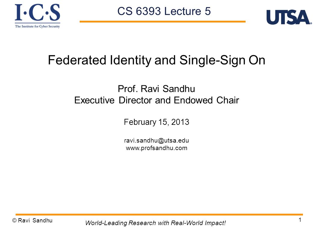 1 Federated Identity and Single-Sign On Prof.