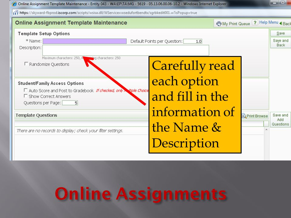 Online Assignments Carefully read each option and fill in the information of the Name & Description