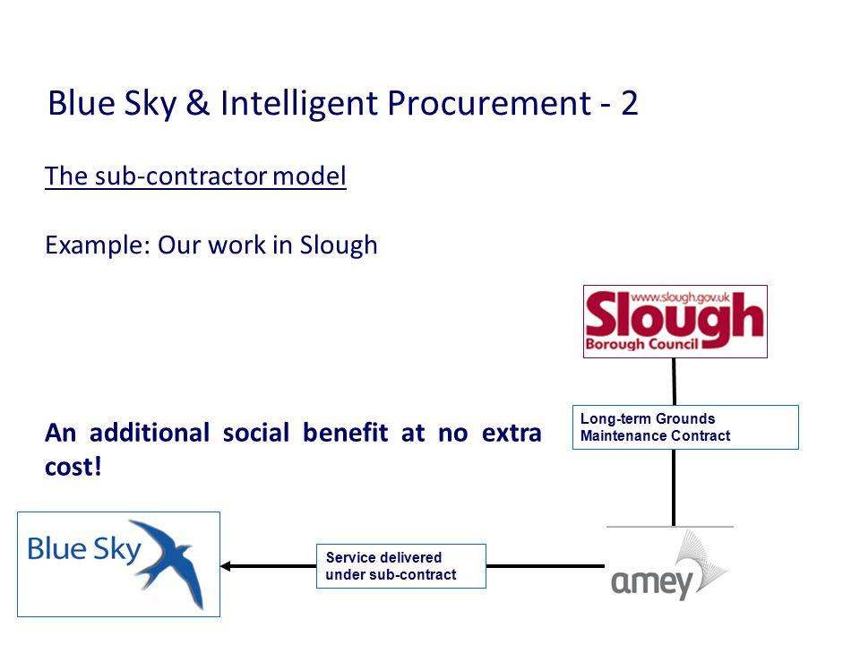 Blue Sky & Intelligent Procurement - 2 An additional social benefit at no extra cost.